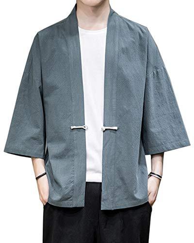 Fotang Hombres Japonés Happi Kimono Haori Chaqueta Color Sólido Cárdigan Camisa