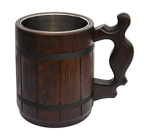 Handmade Beer Mug Oak Wood Stainless Steel Cup (20 OZ). Men Eco-Friendly Souvenir Handmade Retro...