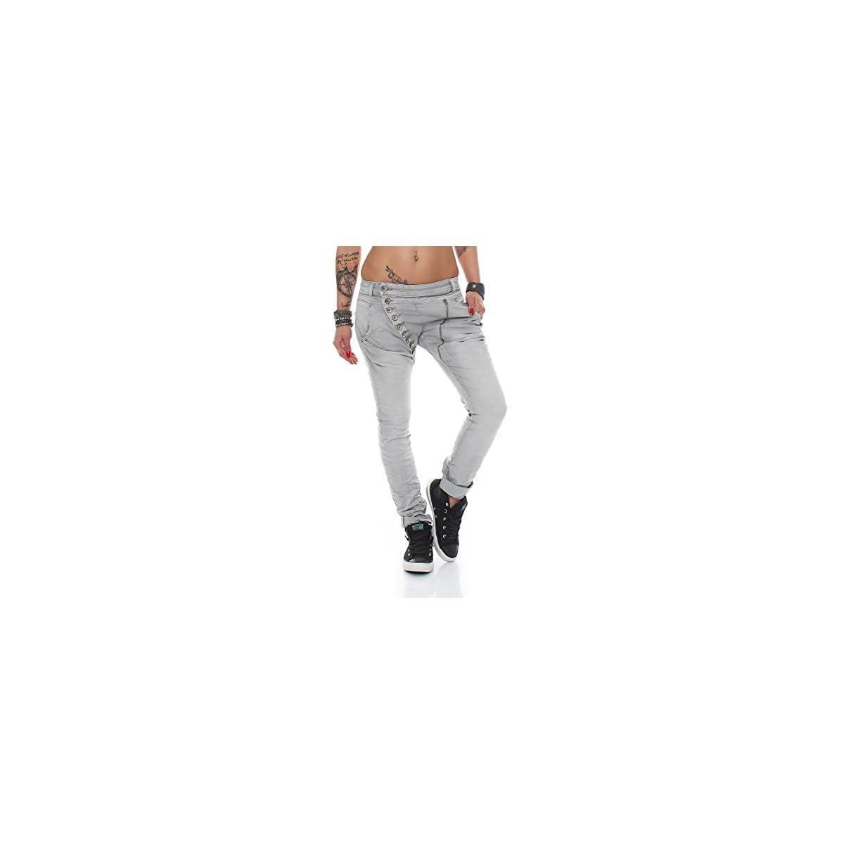Fashion4Young 5857 MOZZAAR Damen Jeans Grau