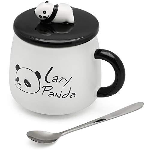 SATYAM KRAFT Ceramic Lazy Panda Printed Mug with Lid and Spoon - 1 Piece,White Cup, 450 ml
