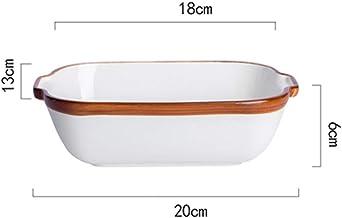 Yuanyu Bandeja de horno, Bandeja de horno creativo, blanco puro del cuenco de arroz, queso, plato de arroz, de cerámica Horno de Hogares, Horno de microonda Bandeja de hornear (Color : C)