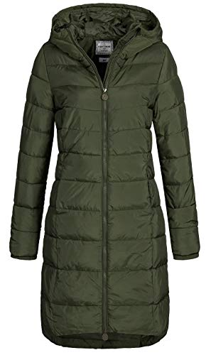 Eight2Nine Damen Steppmantel LETN-039 Lange Stepp-Jacke mit Kapuze Forest Night XL