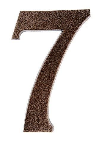 HUBER Hausnummer Nr. 7 Aluminium pulverbeschichtet kupfer antike 20 cm, edles dreidimensionales Design
