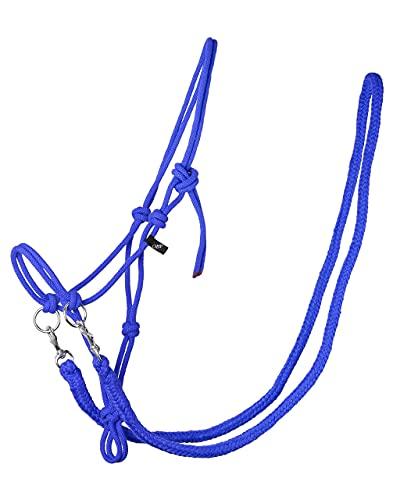 QHP Knotenhalfter mit Zügeln Robustes 10 mm Dickes Seil u. Größen (Shetty, Kobaltblau)
