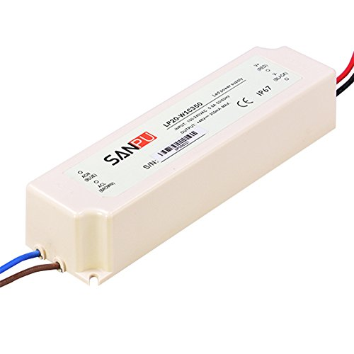 Waterproof LED Driver 20W 350mA 57V CC Constant Current Switching Power Supply AC-DC Transformer Plastic Enclosure IP67 (SANPU LP20-W1C350)