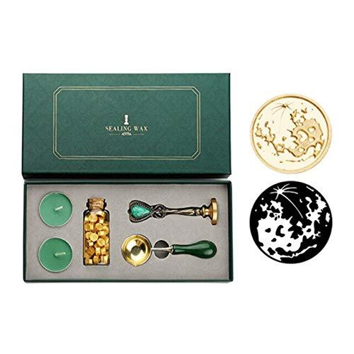 Kit de caja retro con perlas de cera de sellado cuchara sello set DIY Scrapbooking herramientas lacre cera cuchara cera bolas palillos cera derretir regalo