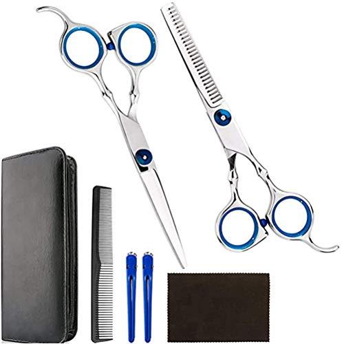 Borstu Haarschaarset, 7 stuks, professionele kappersschaarset, kappersschaar met kam, haarspelden, portemonnee voor beginners en professionals