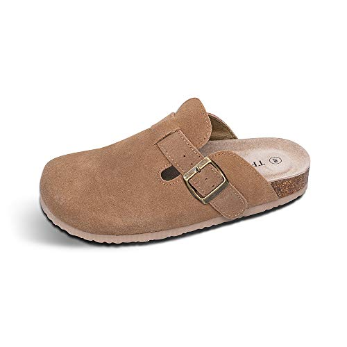 TF STAR Unisex Boston Soft Footbed Clog Cow Suede Leather Clogs Cork Clogs Shoes for Women Men Tan