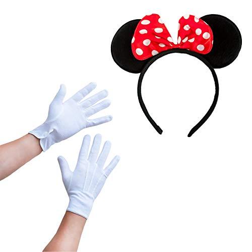 Oblique Unique® Damen Maus Mouse Kostüm Accessoire Set Rot Weiß Schwarz - Haarreifen mit Maus Ohren und Schleife Gepunktet + Handschuhe für Fasching Karneval Motto Party