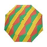 Congo Brazzaville Flagge UPF 50+ Anti-UV Sonnenschirm, wasserdicht, Winddicht, 3 Falten, automatisches Öffnen & Schließen