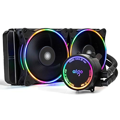 aigo AC240 240mm CPU Liquid Cooler All-in-ONE Water Cooling System LED Riadator 120mm PWM Fans for Intel LGA 2066/2011/1200/115x for AMD AM4/AM3+/AM3