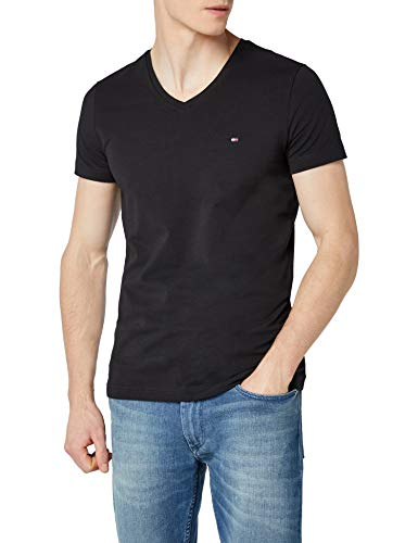 Tommy Hilfiger Herren CORE Stretch Slim Vneck Tee T-Shirt, Schwarz (Flag Black 083), Large