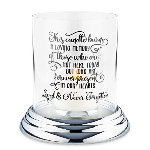 Memorial Gifts Sympathy Candle Holder- for The Loss of a Loved One, Clear Glass Hurricane Candle Holder, in Loving Memory Message Printed on Glass- Bereavement Gift for Grieving Family or Friends