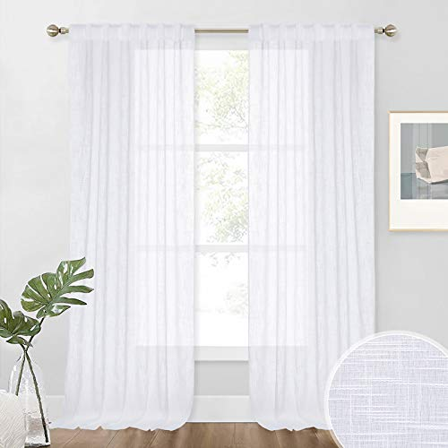 NICETOWN White Sheer Linen Curtains for Living Room, Rod Pocket & Back Tab Sweep to Floor Window Treatments Semi Drapes Privacy for Patio Door/Hall, 2 Panels, W52 x L95