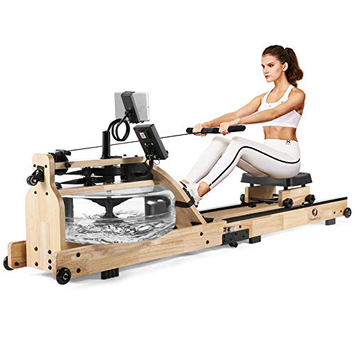 FITNESSCLUB Water Rowing Machine,Foldable Rower Cardio Training Workout Equipment Machine with LCD Bluetooth Monitor, Phone/Pad Holder,Transport Wheels for Home Gyms Fitness Exercise Sports Indoor Use