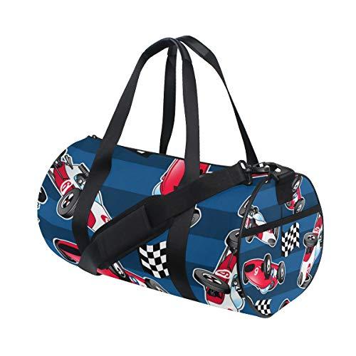 TIZORAX Coches de carreras con rayas azules Gimnasio bolsa de lona de tambor bolsa de viaje Fitness bolsa de la azotea Rack bolsa
