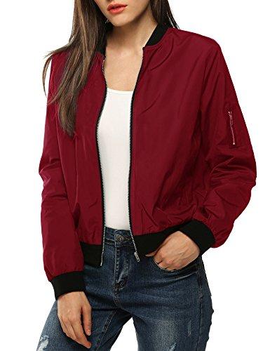 Zeagoo Women Classic Solid Biker Jacket Zip up Bomber Jacket Coat ,Wine Red ,Medium