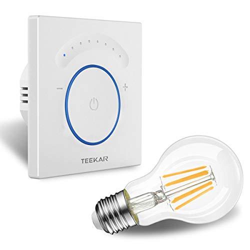 TEEKAR Smart Dimmer Schalter Kompatibel Mit Alexa/Google Home, WLAN Berühren Lichtschalter mit Timerfunktion, APP Fernbedienung, AC 110-240 V Für LED INC CFL - Neutralleitung Erforderlich