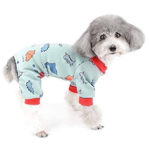 ZUNEA Kleine Hunde Schlafanzug Jumpsuit Weiche Baumwolle Winter Warm Pyjama Overalls Welpen Bodysuit Schlafkleidung Kleidung Niedlich Dinosaurier Haustier Pullover Mantel Chihuahua Outfits Grün XXL