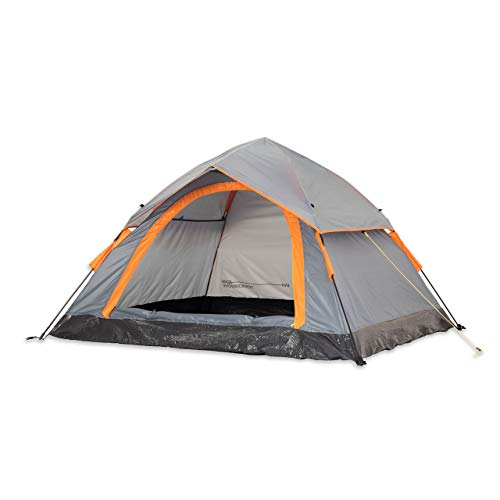 Lumaland Outdoor Waterproof Pop Up Tent 210 x 190 x 110 cm 3 Person Quick Up System fast pitch Foldable Festival Tent with sewn-in Groundsheet UV Protection Lightweight Portable Grey