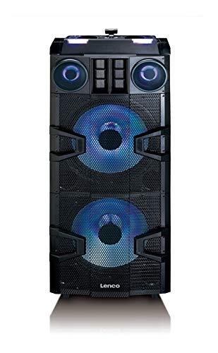 Lenco PMX-850 Mobile PA-Anlage - Party Lautsprecher mit Bluetooth - DJ-Mixer - Lichteffekte - Klasse D Verstärker - 700 Watt RMS - Kopfhörer Monitoring - LED Display - Schwarz