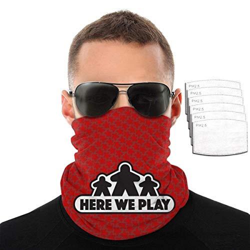 SVDziAeo Hier Spielen wir Brettspiele - Rote Frauen Männer Gesichtsbedeckung Bandanas Kopfbedeckung Hals Gamasche Sturmhaube mit 6 Filter