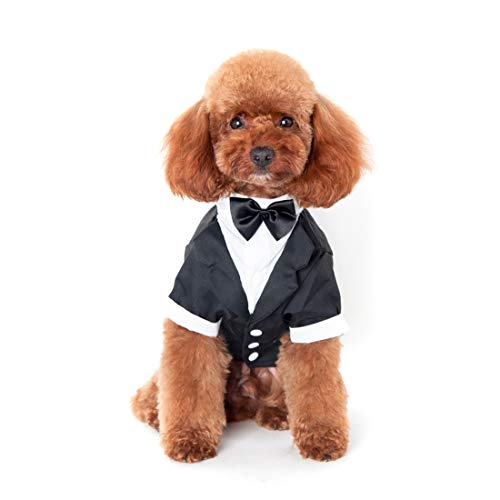 Ectkuee Haustier Welpen Hochzeitsanzug mit Fliege Small Dog Gentleman Kostüm