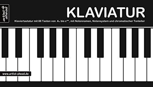Klaviatur: Ausklappbare Klaviertastatur mit 88 Tasten von A'' bis c''''', mit Notennamen, Notensystem & chromatischer Tonleiter. Fingerübungen. Fingertraining. Lernhilfe. Klaviernoten. Piano