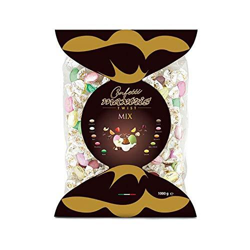 Confetti MAXTRIS TWIST incartati singolarmente a caramella MIX 10 GUSTI 1 Kg. per Nascita, Battesimo, Comunione, Compleanno