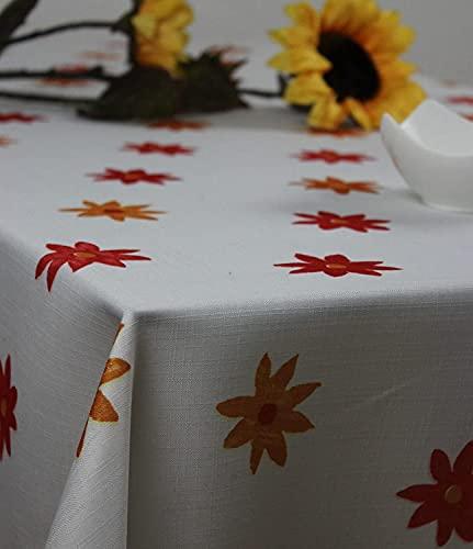 Mantel de aspecto de lino, para mesa de jardín, balcón, terraza, camping, 130/160 cm, color blanco/rojo