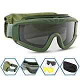 XAegis Airsoft Goggles, Tactical Safety Goggles Anti Fog Military Eyewear with 3 Interchangeable Lens for Paintball Riding Shooting Hunting Cycling - Green