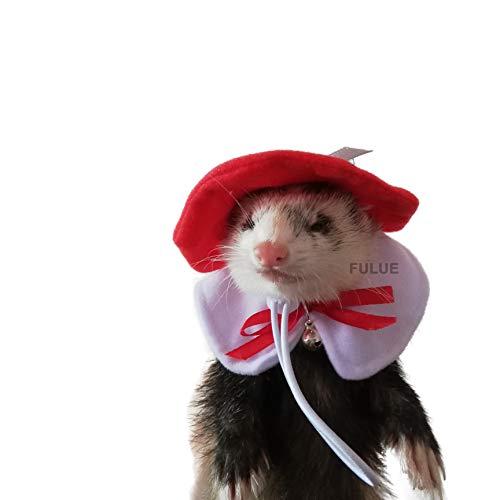 FULUE Ferret Guinea Pig Rat Hat and Collar Handmade