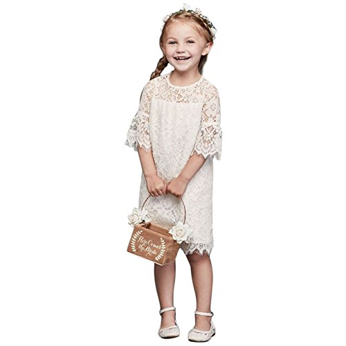 Short Lace Flower Girl/Communion Dress with Illusion Sleeves Style OP239, Soft White, 2T