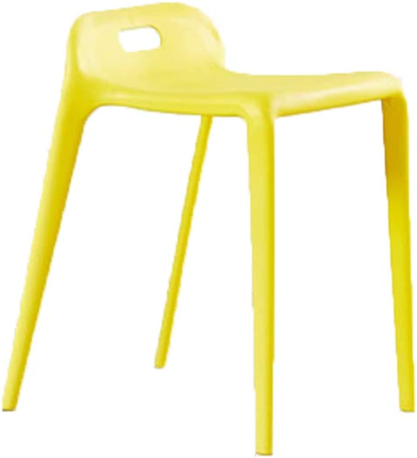 Chair - Simple Plastic Chair Restaurant Rest Chair (color   Yellow)
