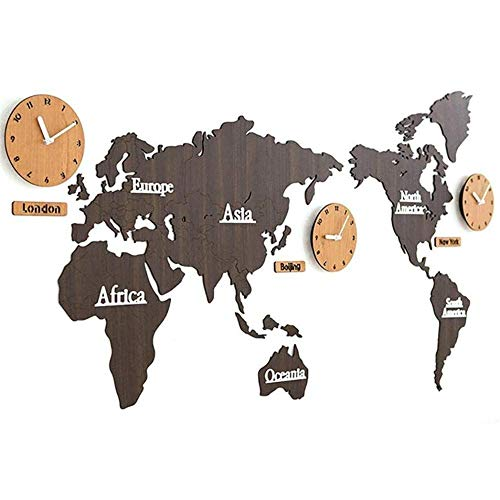 Pillowcase Kreative DIY Aufkleber Weltkarte Wanduhr Persönlichkeit 3D Holz Weltkarte mit 3 Ländern Uhren Stille Nicht tickt Quarzwerk Uhr für Home Wall Decor Art, 54 & mal; 25 '', Braun