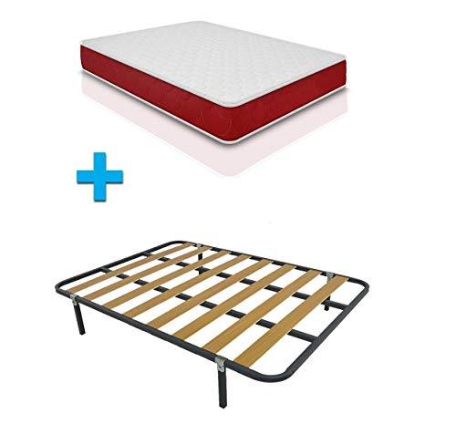 Duermete Cama Completa con colchón viscoelástico viscogel Reversible + somier Basic + 4 Patas, Conjunto, 90 x 190