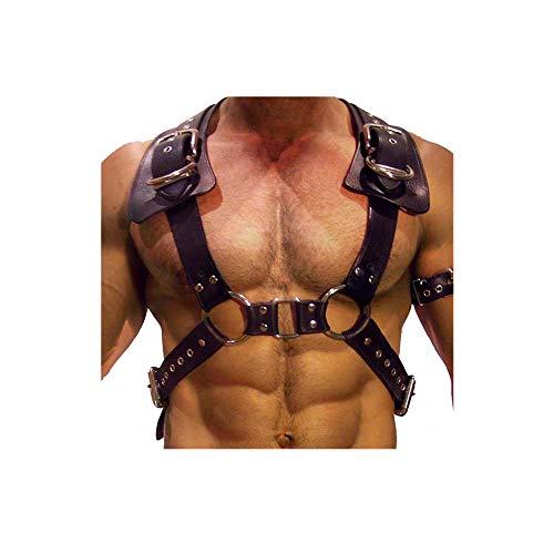 Arnés de pecho ajustable para el cuerpo Cinturones de cuero con hebillas Anillos para hombres