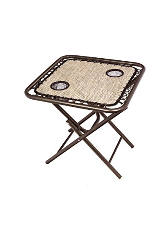 Bliss Hammocks GFC-TBL-S Foldable Camping Side Table with Cupholders, Sand