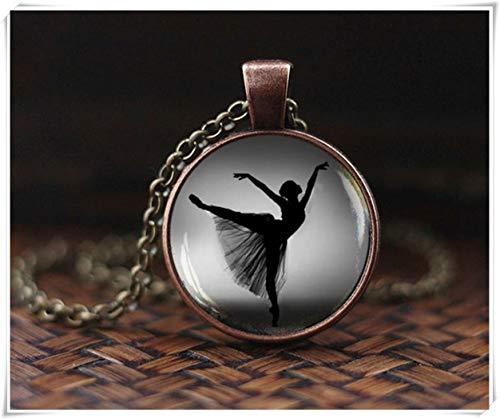 Colgante de silueta de bailarina, collar de bailarina, joyería de bailarina, colgante de arte de silueta de bailarina, collar de bailarina blanco y negro, un hermoso regalo.