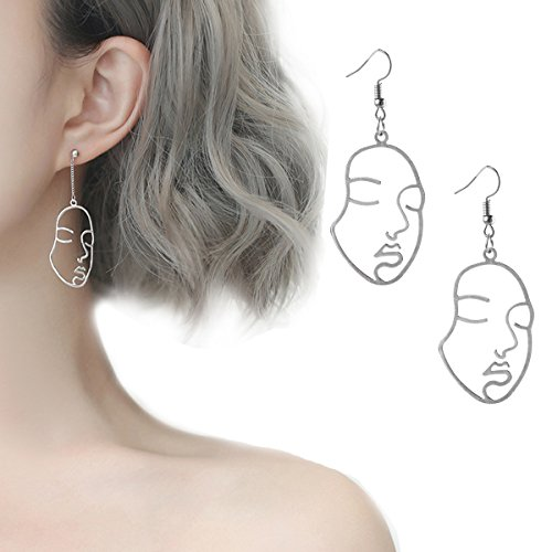 Tpocean Face Earrings Punk Gothic Vintage Harajuku Exaggerated Metal Abstract Earrings for Women Girls