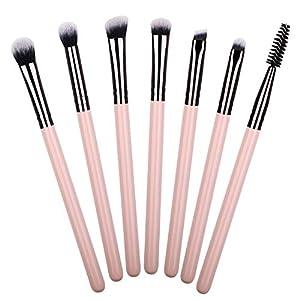 7pcs Eye Makeup Brushes Essential Pink Eyeshadow Makeup Brush Set for Eyes Blending Crease Shader Detailer Definer…