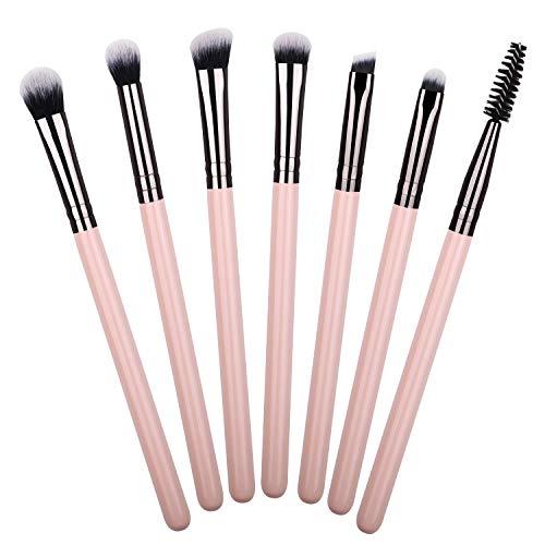 Makeup Eye Brush Set, Essential 7 Pcs Makeup Brushes Eyeshadow Eyeliner Blending Crease Kit, Shader Detailer Definer Eyelash Brush for a Stunning Eye Makeup (Pink)