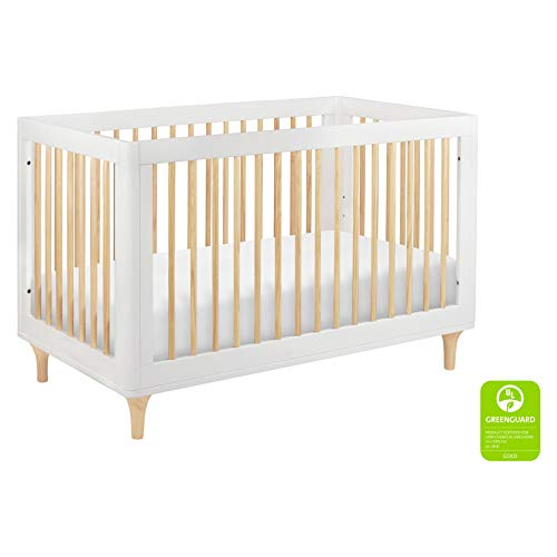 Babyletto Lolly 3-in-1 Convertible Crib with Toddler Bed Conversion Kit, White/Natural