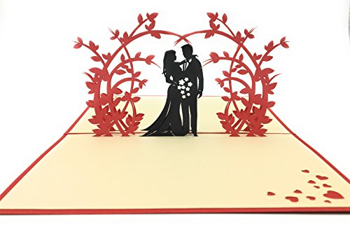 Perfect wedding & Anniversary Gift–Handmade 3D Pop Up card con coppia romantica sotto un arco di bellissimi fiori. Complemento ideale a fiori per la spedizione o whenever you want to say i Love you