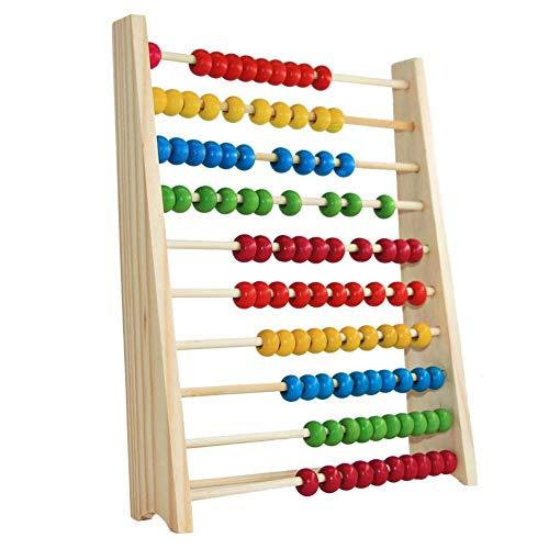 WFZ17 10 filas de cuentas de madera ábaco, marco de ayuda para la enseñanza de matemáticas, juguetes educativos para niños regalo de cumpleaños multi