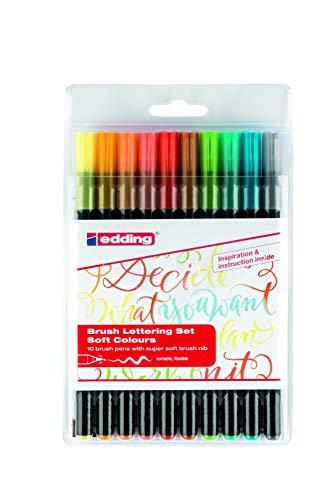 edding 1340 - Pinsel-Stift - sanfte Farben - Pinselspitze - 10er Set - Filz-Stifte zum kreativen Schreiben und Malen, Aquarell, Mandala, Zeichnen, Hand-Lettering und Bullet-Journaling