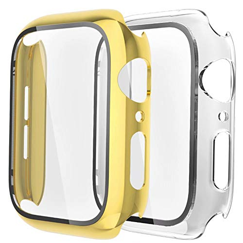 Fengyiyuda [2-Pezzi Cover Compatibile con Apple Watch Custodia 42mm con Anti-Graffio, Bubble-Free TPU Pellicola Protettiva, 360 Gradi Rugged Custodia per IWatch Series 3/2/1-Yellow Gold/Clear