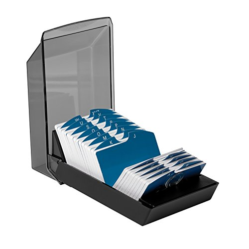 Rolodex 67011 Rolodex Covered Business Card File, 500 2-1/4x4 Cards, 24 A-Z Guides, Black