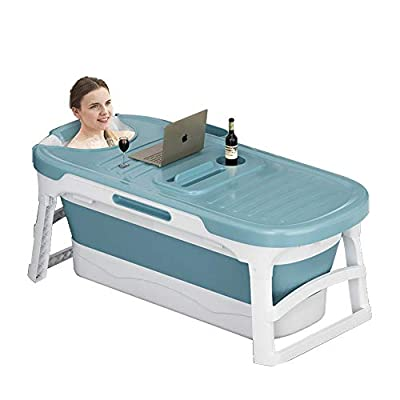 Portable Bathtub for Adults and Baby, Simple Bath Tub Home SPA Bathtub,Easy to Store Plastic Bath Barrel Household Insulation for Baby Toddler Children Twins Petite Adult(52inch) (blue)