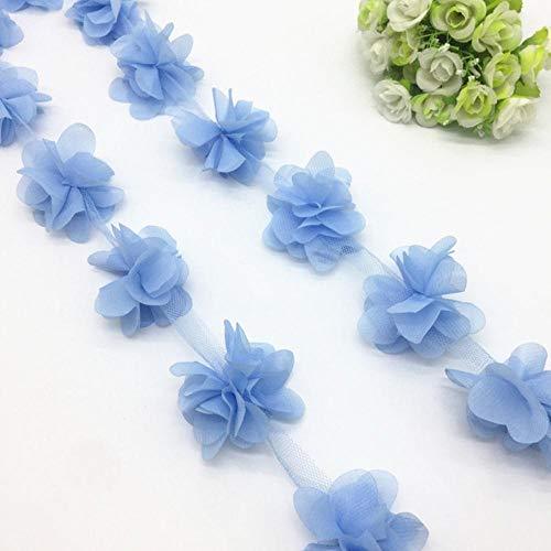 1 Yard 3D Chiffon Bloem Kant Trim Baby Haarband Kant Stof Decoratie DIY Kledingaccessoires Lint, Hemelsblauw